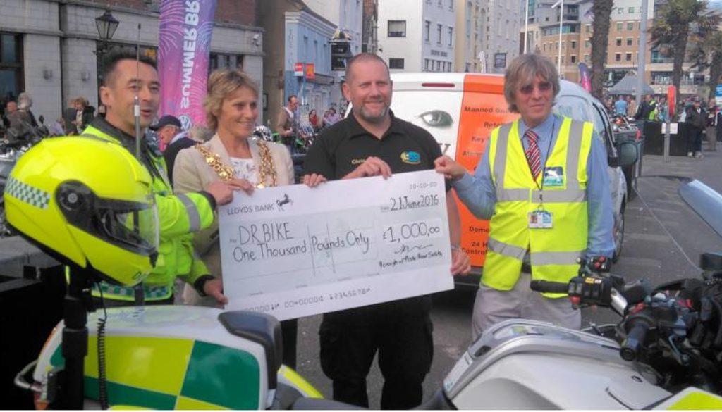Mayor Councillor Ann Stribley - Road Safety donation to DocBike