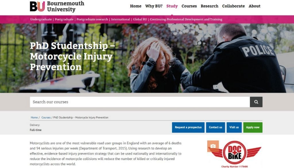 Bounrnemouth University DocBike PhD student vacancy
